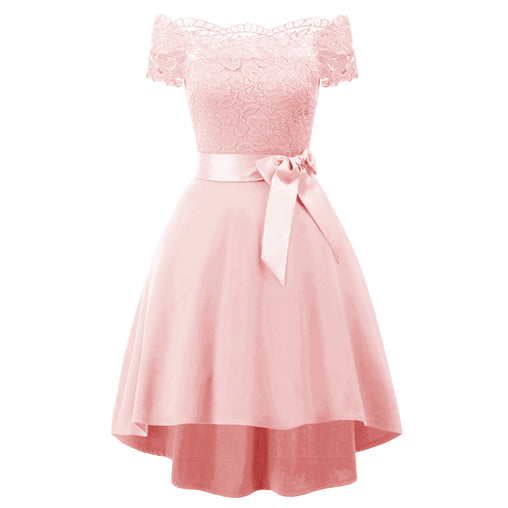 Pink Sweet Prom Gown Off-the-Shoulder Homecoming Graduation Dresses