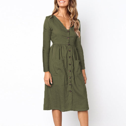 Autumn Knee-Length Fashion V-neck Dresses With Side Pockets