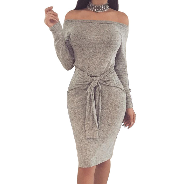 Off-the-Shoulder Knee-Length Autumn Warm Dresses With Belt
