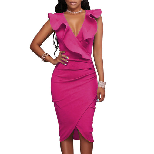 Deep-V Sexy Bodycon Nightout Tight Wrap Ruffled Club Dresses