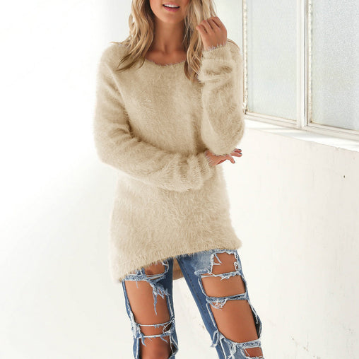 Sweet Hairy Autumn Warm Pullover Simple Basic Woman's Knitting Sweaters