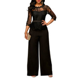 2018 Fashion Sexy Sheer Lace Top Loose Pants Black Casual Jumpsuits