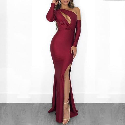 2019 Sexy Cutout Tight One Shoulder Side Split Long Club Dresses