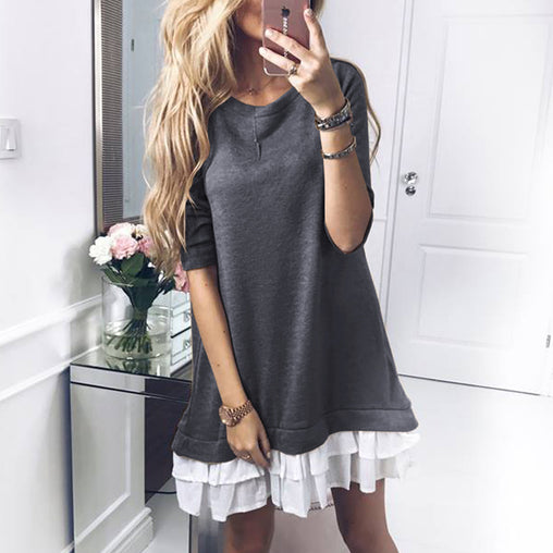Autumn Winter Long Sleeve Patchwork Ruffled Hem Short Dress