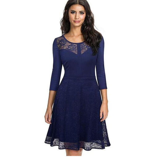2018 Summer Spring O Neck 3/4 Sleeves Swing Rockabilly Midi Blue Lace Dress