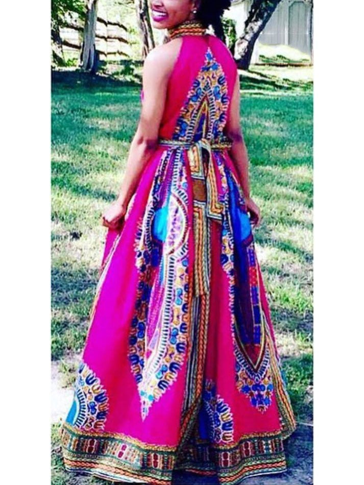 African Totem Printed Dashiki Dress Summer Halter Maxi Dress