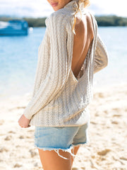Apricot Long Sleeve High-necked Open Back Knit Sweater