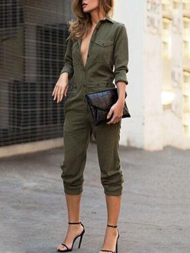 Army Green Long Sleeve Lapel Jumpsuit Siamese Pants Trousers