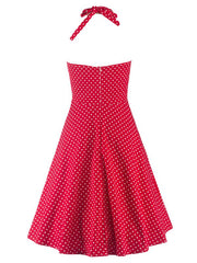 Red Audrey Hepburn 50s Vintage A-line Gathered Polka Dot Dress