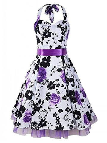 Audrey Hepburn Vintage Style Flowers Printed Swing Rockabilly Halter Dress with Belt