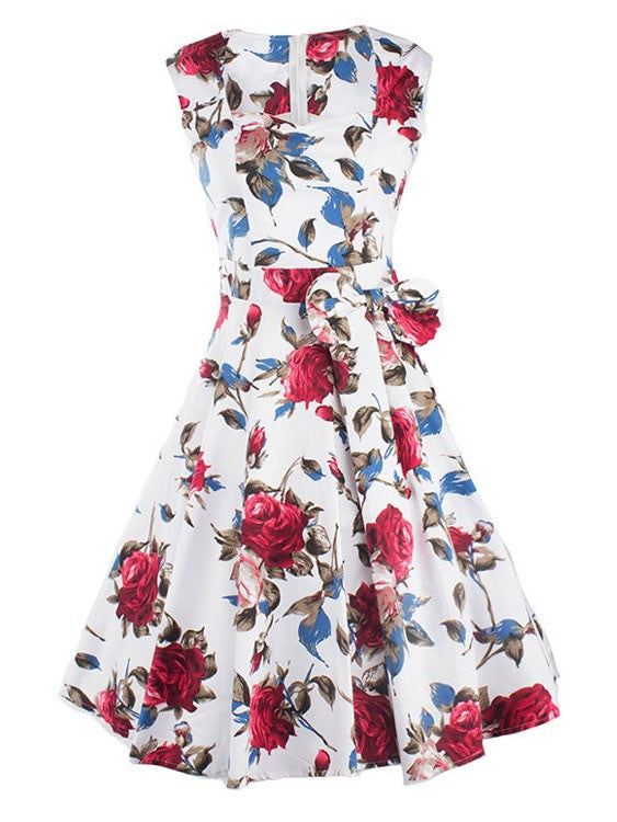 Vintage 50S Sleeveless Red Flowers Bowknot Swing Inspired Midi Dress