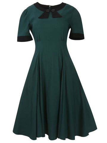 Audrey Hepburn Vintage Bowknot Cotton Swing Dress