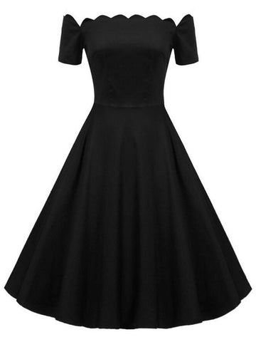 Vintage Short Sleeve Off Shoulder Rockabilly Swing Knee Length Dresses