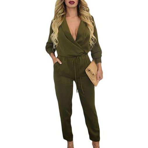 Autumn Army Green Long Sleeve V-neck Jumpsuits Siamese Pants Trousers