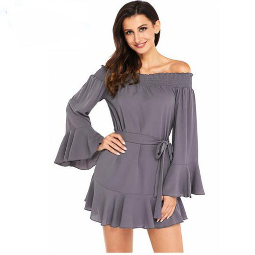 Autumn Sexy Off Shoulder Flare Long Sleeve Loose Pleated Mini Short Dress