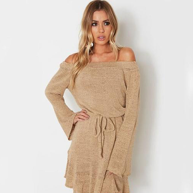 Autumn Sexy Off Shoulder Long Sleeve Loose Belted Short Knitted Sweater  Dress c9506102c