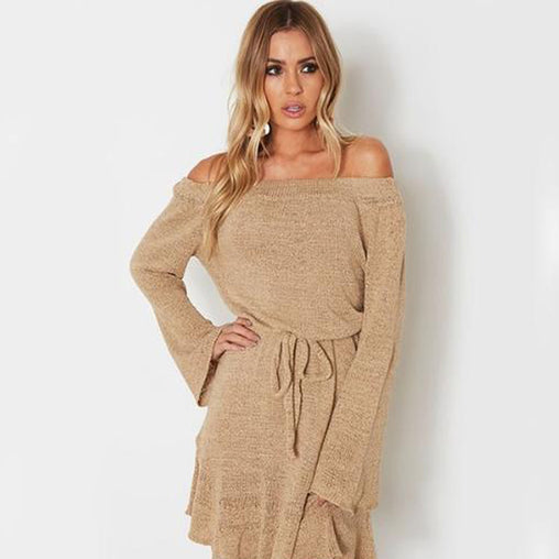 Autumn Sexy Off Shoulder Long Sleeve Loose Belted Short Knitted Sweater Dress