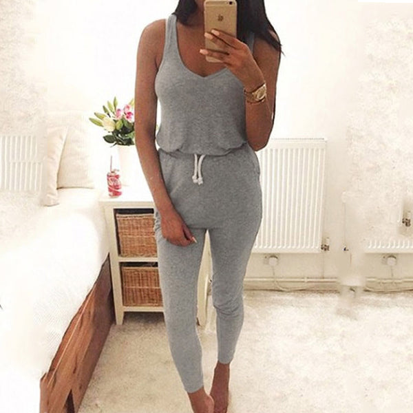 Casual Summer Vest Sleeveless Elastic Waist Jumpsuits
