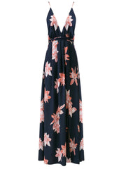 Sexy Navy Backless Floral Printed High Slit Maxi Prom Dress