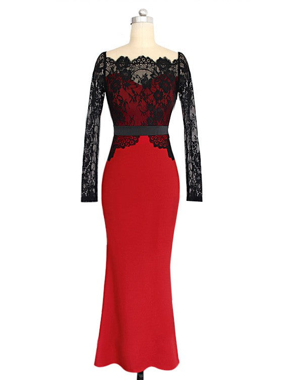 Black and Red Lace Sheer Stitching Mermaid Bodycon Maxi Evening Dress