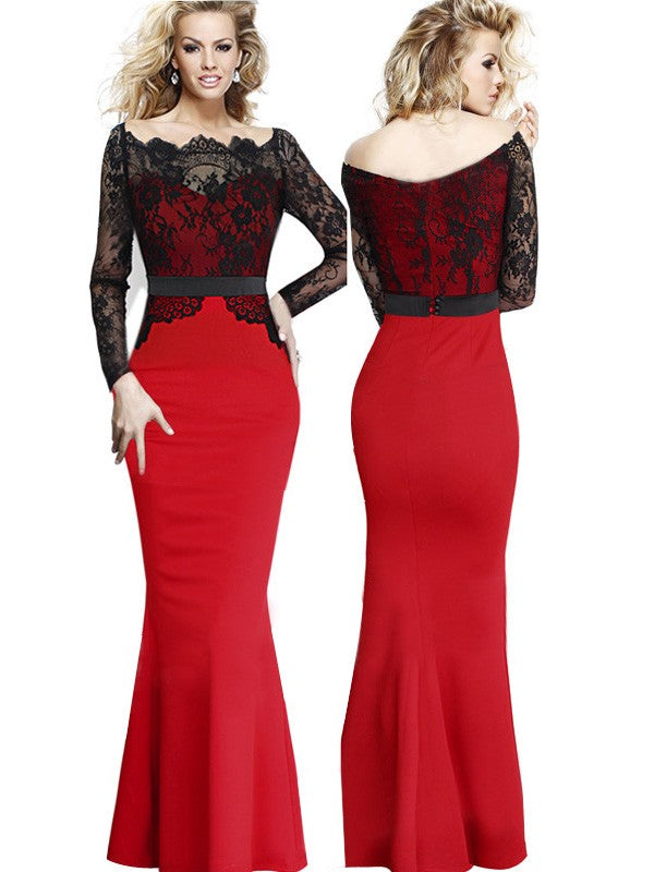 Black And Red Lace Sheer Stitching Mermaid Bodycon Maxi Evening