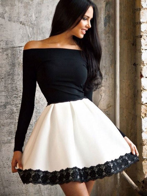 Cute Elastic Waist Off Shoulder Dress with Long Sleeve