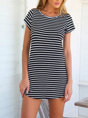 Summer Casual Black and White Striped Short Sleeves Dress