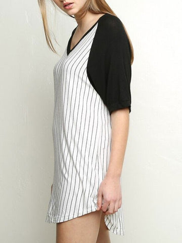 Summer Baseball T-Shirt Classic Striped Casual Sporty Dress