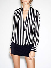 Black and White Vertical Striped Print Long Sleeve V-Neck Chiffon Shirt