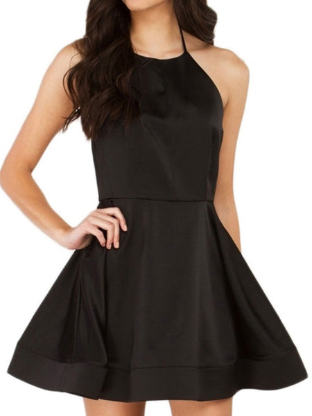 Black Backless Halter Mini Party A-line Short Cami Dress