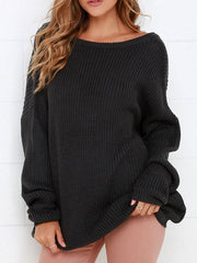 Black Casual Loose Backless Long Sleeve Knit Sweater