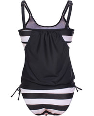 Black Color Block Striped Tankini with Triangle Briefs