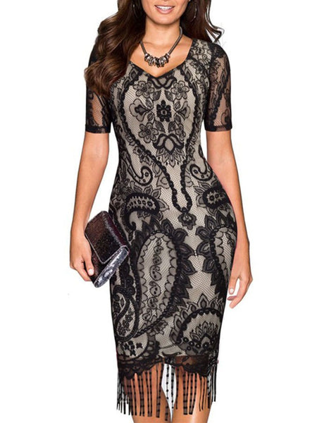 1920s V-neck Short Sleeve Lace Flower Pencil Tassel Dress