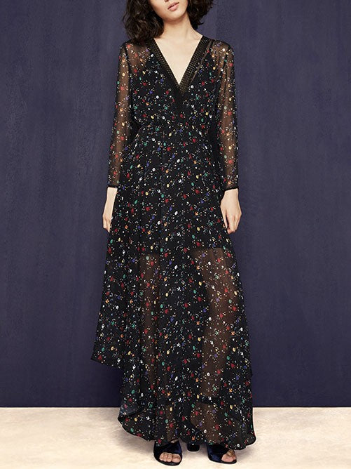 Black Floral Maxi Chiffon Dresses Long Sleeve Beach Dress