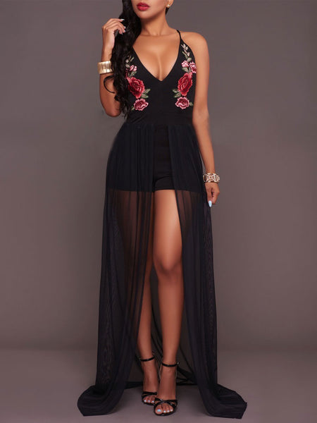 Black V-neck Flowers Embroidery Split Chiffon Club Party Maxi Dress