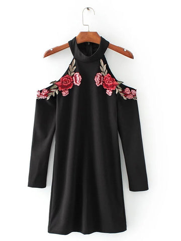 Sexy Red Rose Flower 3D Appliques Embroidery Off Shoulder Sheath Dress