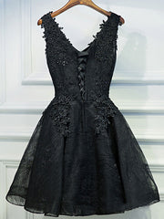 Black Plus Size Short Homecoming Lace Stitching V-neck Evening Dress