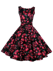 Black Retro 50s Audrey Hepburn Style Printed Vintage Swing Party Dress