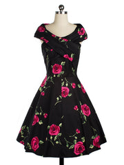 50s Fit And Flare Vintage Style Boat Collar Swing Rockabilly Inspired Dress