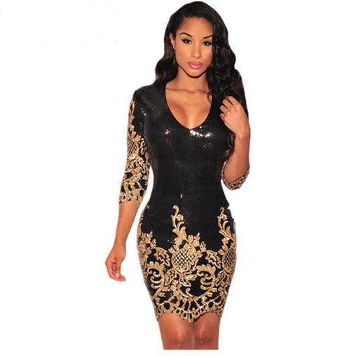 Black Sexy Sequined Three Quarters Sleeves Bodycon Party Club Dress