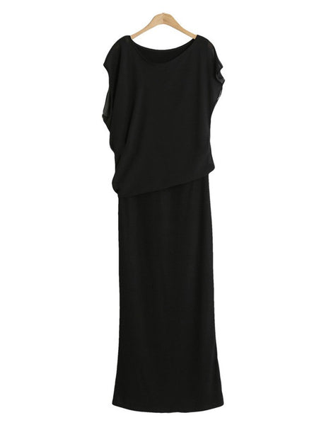 Casual Black Short-Sleeved Summer Chiffon Maxi Long Dress