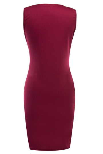 Slim Sleeveless Stitching Leather Knee Length Pencil Dress