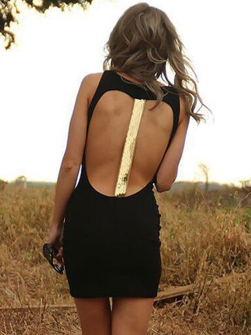 Black Sleeveless Sequined Open Back Mini Club Short Bodycon Dress