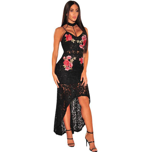 Black Summer Floral Lace Crochet Strap Choker Party High Low Maxi Dress
