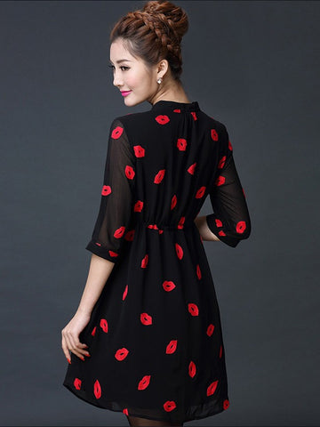 Plus Size Black Sweet Lips Embroidered Drawstring Chiffon Shirt Dress