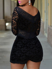Black Back Zipper Three-quarter Sleeves V-neck Lace Rompers