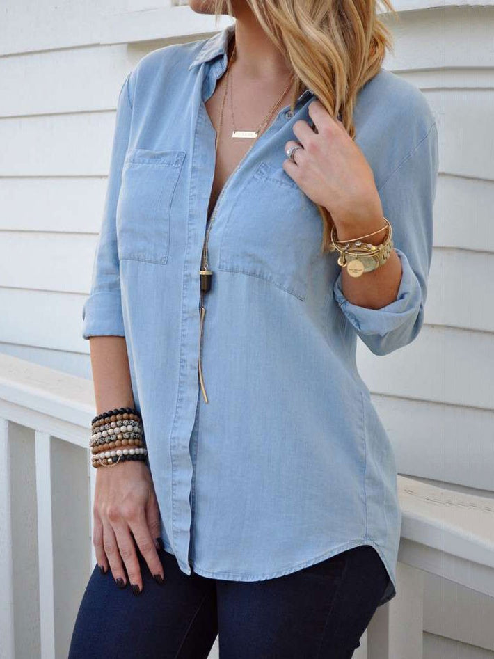 Blue Denim Shirt Single-breasted Casual Cotton Tops