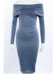 Casual Long Sleeve Off Shoulder Bodycon Midi Dress