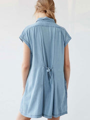 Denim Casual Pocket V Neck Summer Loose Shirts Dress