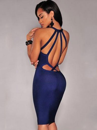 Blue Sexy Club Open Back Mini Bodycon Dress